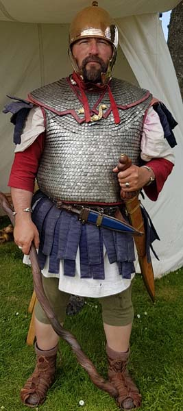 Image: man dressed as Roman Soldier at Birdoswald Roman Fort in Northumberland.