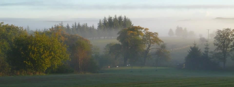 Image: autumn view from the patio of our holiday cottage at Greenhead in Northumberland.